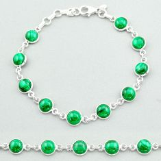 22.98cts tennis natural green malachite (pilot's stone) silver bracelet t40295