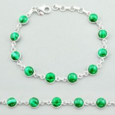 22.54cts tennis natural green malachite (pilot's stone) silver bracelet t40296