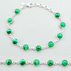 24.65cts tennis natural green malachite (pilot's stone) silver bracelet t40298