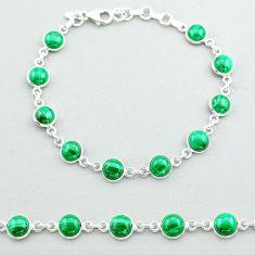 24.65cts tennis natural green malachite (pilot's stone) silver bracelet t40299