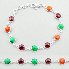 19.47cts tennis natural green malachite (pilot's stone) silver bracelet t40347