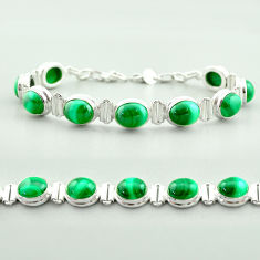 42.64cts tennis natural green malachite (pilot's stone) silver bracelet t55587