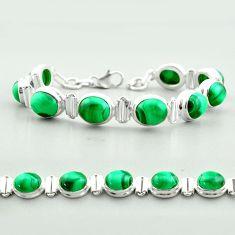 41.15cts tennis natural green malachite (pilot's stone) silver bracelet t55588