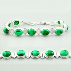 42.26cts tennis natural green malachite (pilot's stone) silver bracelet t55590