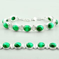 42.25cts tennis natural green malachite (pilot's stone) silver bracelet t55591