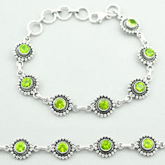 6.24cts tennis natural green peridot 925 sterling silver bracelet jewelry t52069
