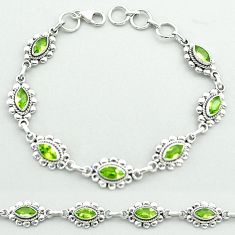 9.65cts tennis natural green peridot 925 sterling silver bracelet jewelry t52091