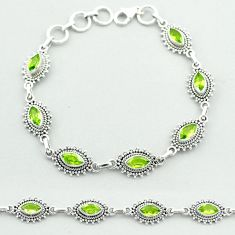 9.51cts tennis natural green peridot 925 sterling silver bracelet jewelry t52136
