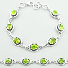 10.12cts tennis natural green peridot oval 925 sterling silver bracelet t52071
