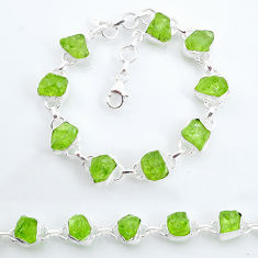 38.46cts tennis natural green peridot raw 925 sterling silver bracelet t6652