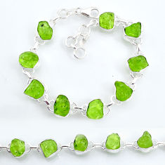 36.72cts tennis natural green peridot raw 925 sterling silver bracelet t6653