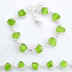 37.44cts tennis natural green peridot raw 925 sterling silver bracelet t6654