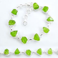 37.53cts tennis natural green peridot raw 925 sterling silver bracelet t6656