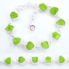 36.26cts tennis natural green peridot raw 925 sterling silver bracelet t6657