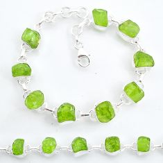 38.81cts tennis natural green peridot raw 925 sterling silver bracelet t6659