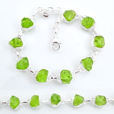 40.17cts tennis natural green peridot raw 925 sterling silver bracelet t6660