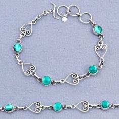 9.58cts tennis natural green turquoise tibetan 925 silver bracelet t8349