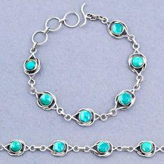 13.89cts tennis natural green turquoise tibetan 925 silver bracelet t8390