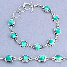 16.75cts tennis natural green turquoise tibetan 925 silver bracelet t8408