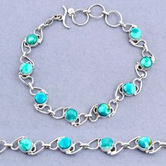 17.39cts tennis natural green turquoise tibetan 925 silver bracelet t8429