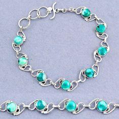 16.77cts tennis natural green turquoise tibetan 925 silver bracelet t8430