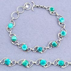16.42cts tennis natural green turquoise tibetan 925 silver bracelet t8431