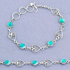 9.58cts tennis natural green turquoise tibetan round 925 silver bracelet t8350