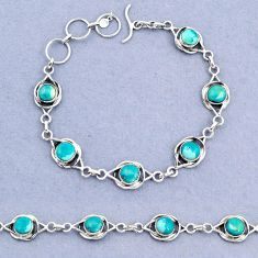 13.89cts tennis natural green turquoise tibetan round 925 silver bracelet t8391