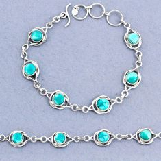 14.22cts tennis natural green turquoise tibetan round 925 silver bracelet t8394