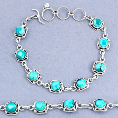 16.05cts tennis natural green turquoise tibetan round 925 silver bracelet t8407