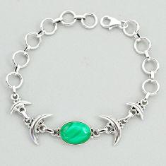 6.67cts tennis natural malachite (pilot's stone) silver moon bracelet t38831