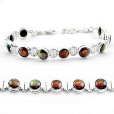 29.81cts tennis natural multi color ammolite (canadian) silver bracelet t45321