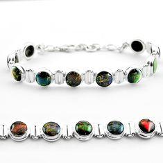 30.88cts tennis natural multi color ammolite (canadian) silver bracelet t45322