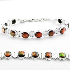 29.39cts tennis natural multi color ammolite (canadian) silver bracelet t45324