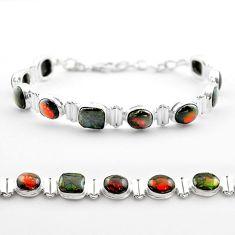 30.04cts tennis natural multi color ammolite (canadian) silver bracelet t45360