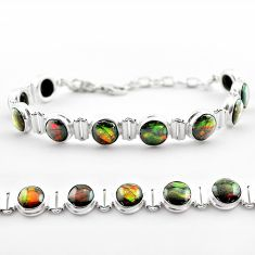 31.29cts tennis natural multi color ammolite 925 silver bracelet jewelry t45331