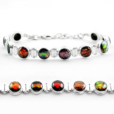 32.79cts tennis natural multi color ammolite 925 silver bracelet jewelry t45333