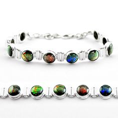 30.88cts tennis natural multi color ammolite 925 silver bracelet jewelry t45334