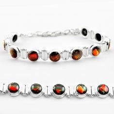 29.68cts tennis natural multi color ammolite round 925 silver bracelet t45326