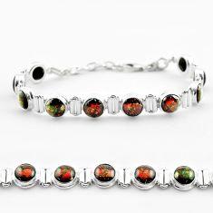 29.79cts tennis natural multi color ammolite round 925 silver bracelet t45328