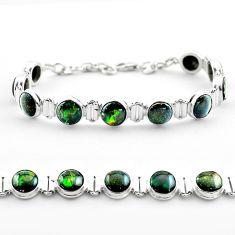 32.79cts tennis natural multi color ammolite round 925 silver bracelet t45329