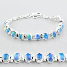 18.72cts tennis natural multicolor ethiopian opal 925 silver bracelet t48689