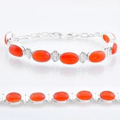 32.79cts tennis natural orange cornelian (carnelian) 925 silver bracelet t47491