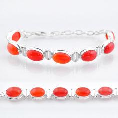 33.90cts tennis natural orange cornelian (carnelian) 925 silver bracelet t47496