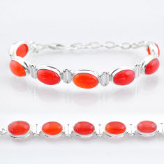 32.05cts tennis natural orange cornelian (carnelian) 925 silver bracelet t47499