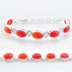 32.36cts tennis natural orange cornelian (carnelian) 925 silver bracelet t47500