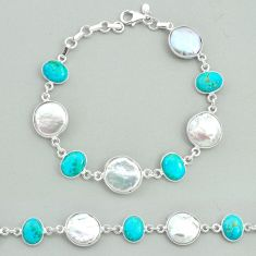 28.70cts tennis natural pearl arizona mohave turquois 925 silver bracelet t37284