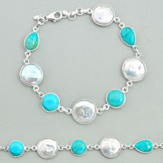 29.34cts tennis natural pearl arizona mohave turquois 925 silver bracelet t37287