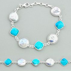27.64cts tennis natural pearl arizona mohave turquois 925 silver bracelet t37288
