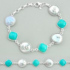 29.32cts tennis natural pearl arizona mohave turquois 925 silver bracelet t37292